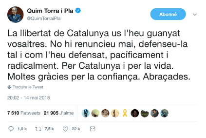 Quim Torra twitter