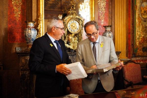 Quim Torra, Président de la Généralitat de Catalogne et Jean-Marc Pujol Maire de Perpignan