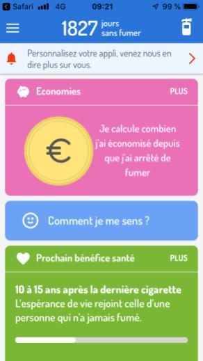 Screen de l'application Mois Sans Tabac