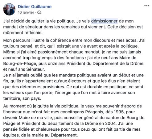Didier Guillaume quitte la politique