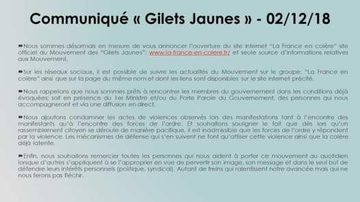 Gilets jaunes - Communiqué de la France en Colère