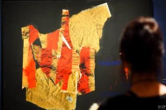 """Cette toile de 1977 titrée """"Volem l'estatut"""" a été réalisée alors que sont organisées en Espagne les premières élections libres après presque 40 ans de dictature"""