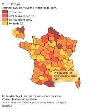 Taux de chômage localisés au 3ᵉ trimestre 2018 - comparaisons départementales - Source INSEE