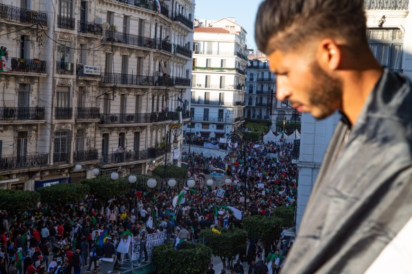 A view of the demonstration. Algiers, Algeria, march 15, 2019. Une vue de la manifestation. Alger, Algerie, 15 mars 2019.