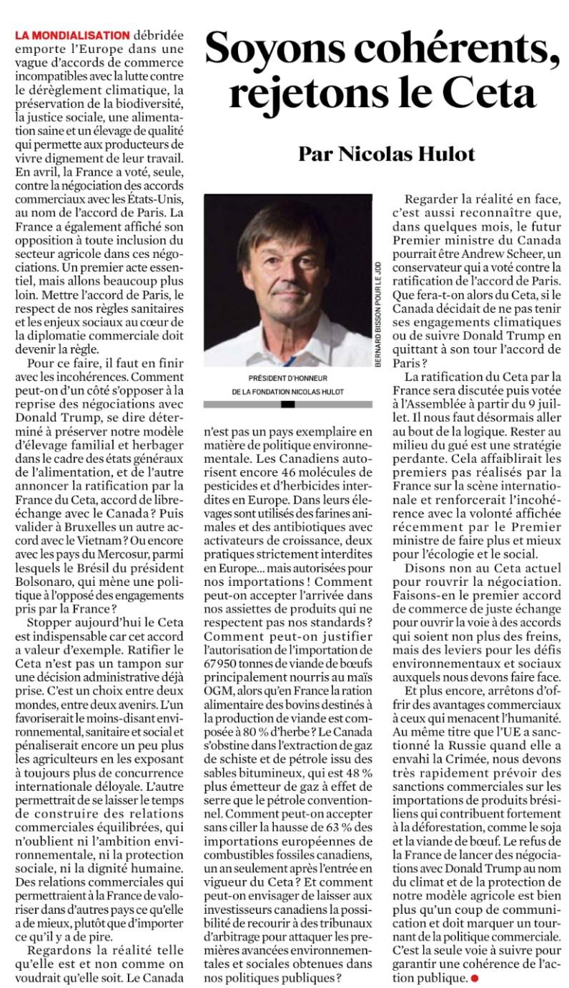 Tribune de Nicolas Hulot publiée dans le JDD du 30 juin