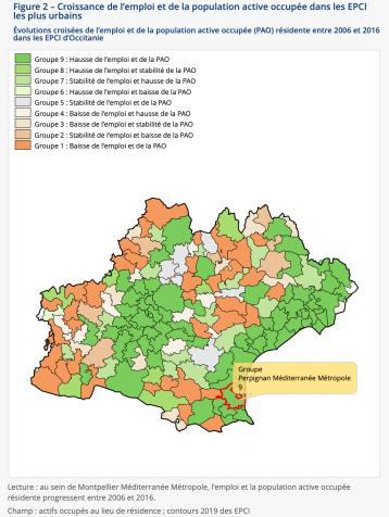 Évolutions croisées de l'emploi et de la population active occupée (PAO) résidente entre 2006 et 2016 dans les EPCI d'Occitanie