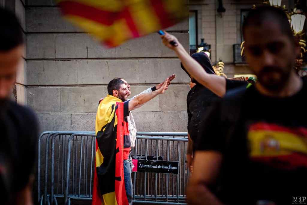 30/09/2017, Barcelona, Spain, ARCHIVES Référendum Catalogne Catalonia Catalunya manifestation anti-indépendantisme riot anti-independantism © Arnaud Le Vu / MiP / APM