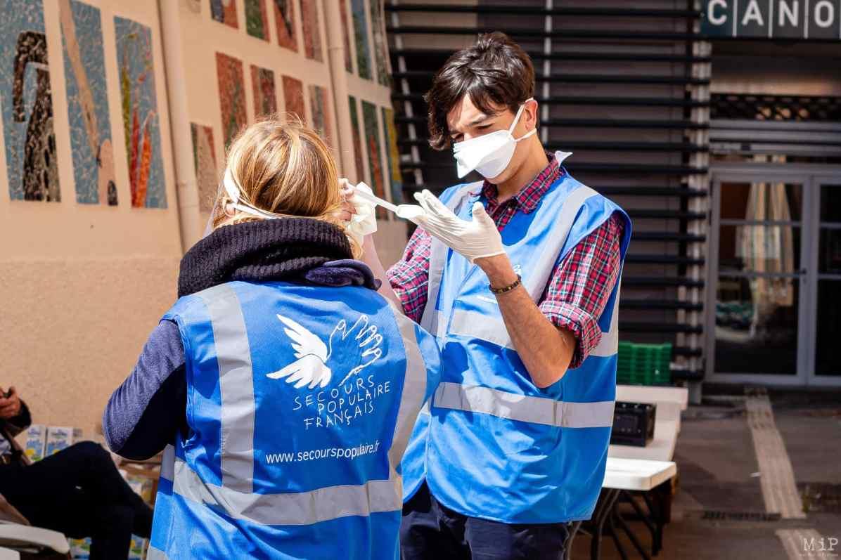 Archives Perpignan France 07-04-2020 Distribution colis alimentaire pauvreté précarité Secours Populaire Conseil Départemental Pyrénées-Orientales © Arnaud Le Vu / MiP / APM