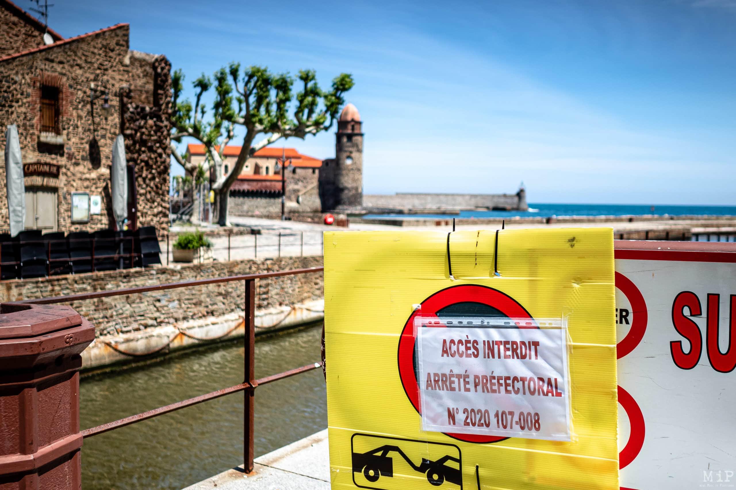 07/05/2020, Collioure, France, Illustration déconfinement interdiction plages, bord de mer, terrasses des cafés et restaurants © Arnaud Le Vu / MiP / APM