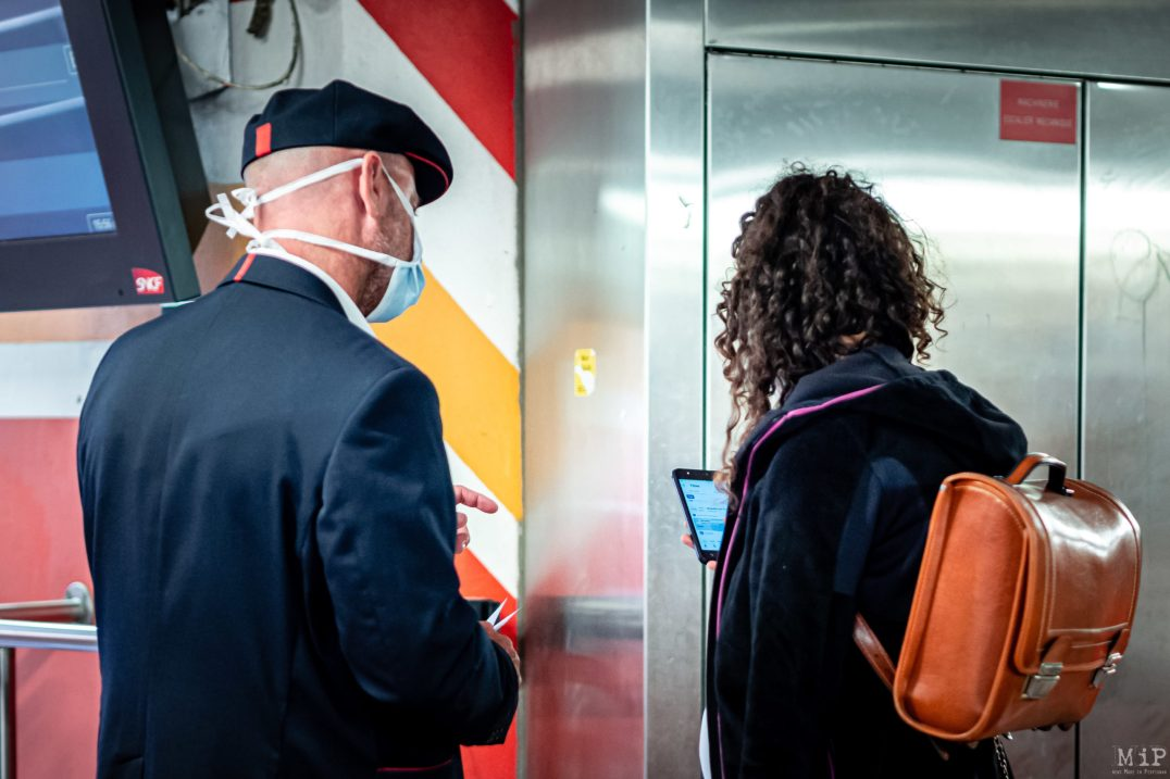 15/05/2020 Perpignan, France, Illustration SNCF Covid-19 mesures de distanciation sociale © Arnaud Le Vu / MiP / APM