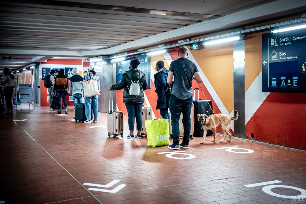 15/05/2020 Perpignan, France, Illustration SNCF Covid-19 mesures de distanciation sociale des usagers du train à Perpignan© Arnaud Le Vu / MiP / APM