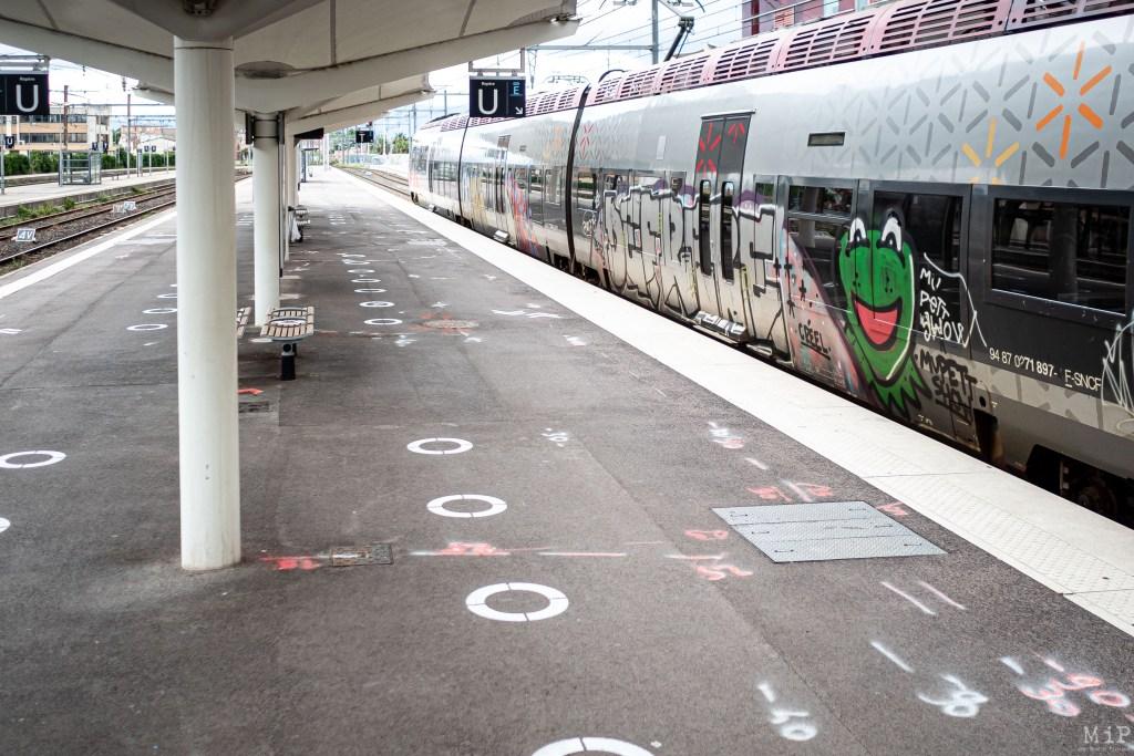 15/05/2020 Perpignan, France, Illustration SNCF Covid-19 mesures de distanciation sociale des usagers du train à Perpignan© Arnaud Le Vu / MiP