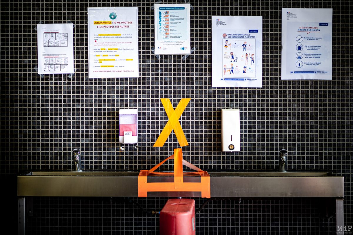 15/05/2020 Thuir, France, Illustration reouverture colleges preparatifs Covid-19 distanciation sociale © Arnaud Le Vu / MiP / APM
