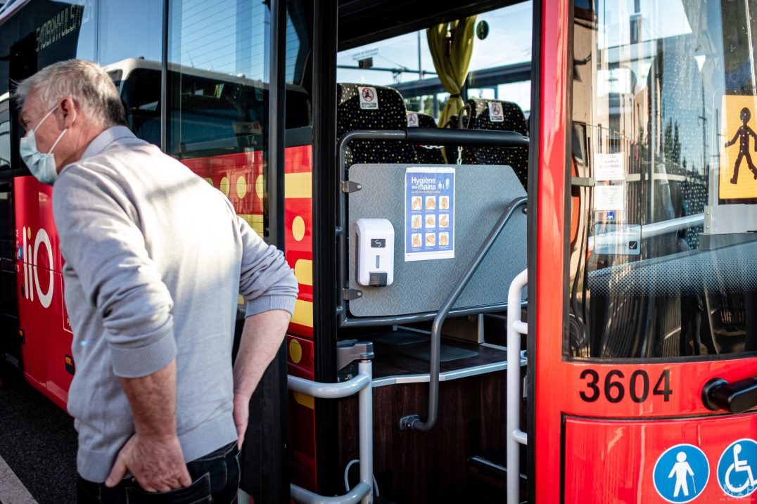 20/05/2020 Perpignan, France, Illustration Car Bus Covid-19 mesures de distanciation sociale © Arnaud Le Vu / MiP / APM