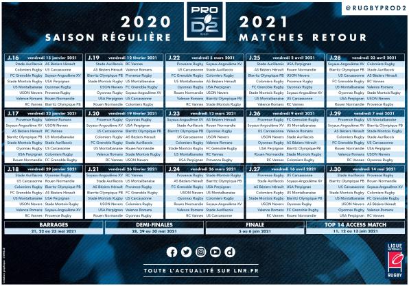 PRO D2 | LE CALENDRIER DE LA SAISON 2020/2021 - 2
