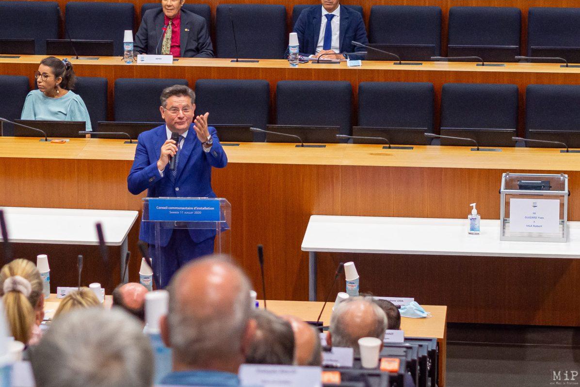 Juillet 2020 - Jean Vila lors de l'élection du President de la Communauté Urbaine de Perpignan
