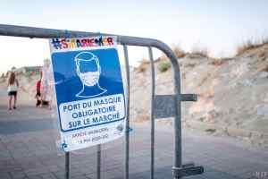 05/08/2020, Sainte Marie la Mer, Illustration mesures barrieres Covid-19 littoral Mediterrannee