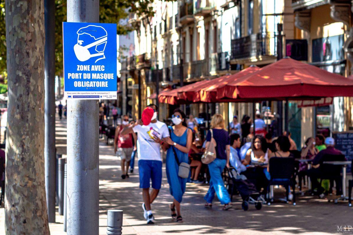 24/08/2020, Perpignan, France, signalisation port du marque obligatoire © Arnaud Le Vu / MiP