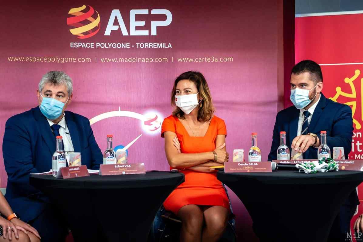 18/09/2020, Perpignan, France, Carole Delga Jean Vila