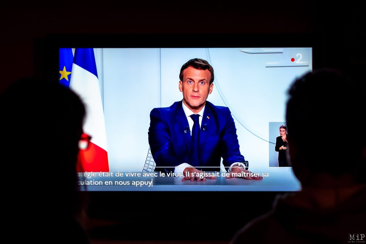28/10/2020, Perpignan, France, Allocution Emmanuel Macron Covid-19 reconfinement © Arnaud Le Vu / MiP