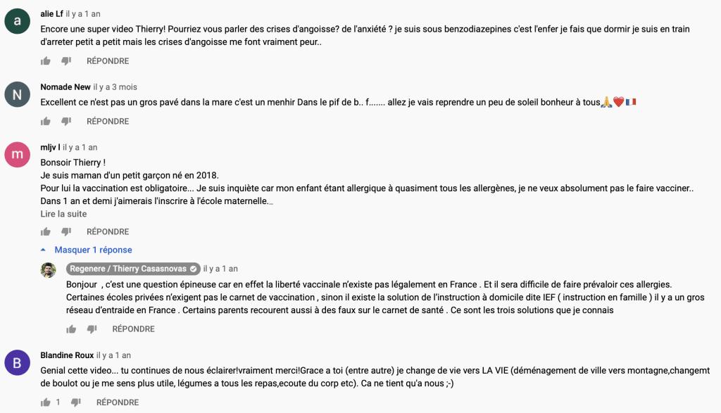 Youtube commentaires abonnés chaîne Thierry Casasnovas