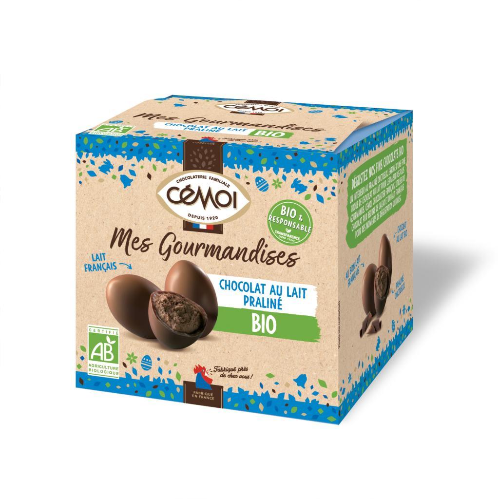 OEufs praliné bio au chocolat au lait au lait français