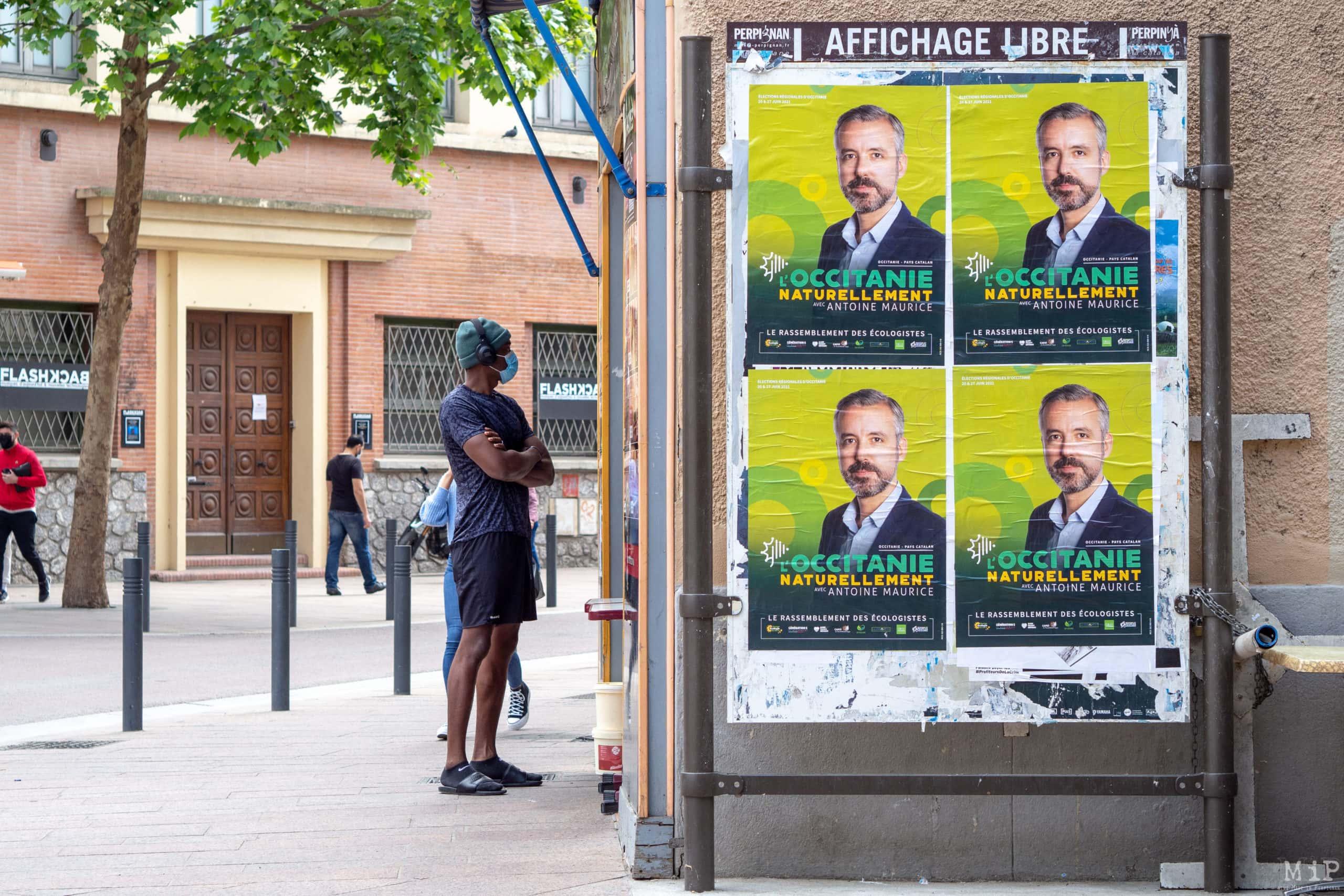 04/05/2021, Perpignan, France, Antoine Maurice affichage libre © Arnaud Le Vu / MiP
