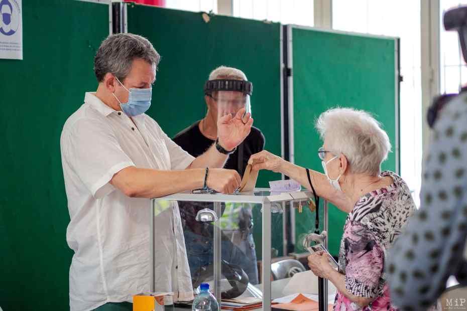 28/06/2020, Perpignan, France, Elections Municipales votes de Louis Aliot et Jean-Marc Pujol 2nd tour © Arnaud Le Vu / MiP