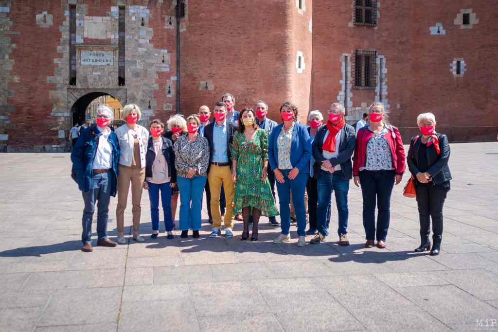 France, Perpignan, 2021-05-18. The President of the Occitanie region and candidate was in Perpignan. Carole Delga presented the section of 15 co-candidates carried by Agnes Langevine for the Pyrenees-Orientales, its record and some of its proposals. Photograph by Arnaud Le Vu / Hans Lucas.  France, Perpignan, 2021-05-17. La Presidente de la region Occitanie et candidate etait a Perpignan. Carole Delga a pour presente la section de 15 colistiers portee par Agnes Langevine pour les Pyrenees-Orientales, son bilan et quelques unes de ses propositions. Photographie de Arnaud Le Vu / Hans Lucas.