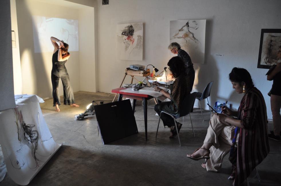 """""""Dessiner le vivant"""" lors de l'édition de 2019, dans l'espace d'exposition de Corine Pagny. © Dossier de presse RCAS"""