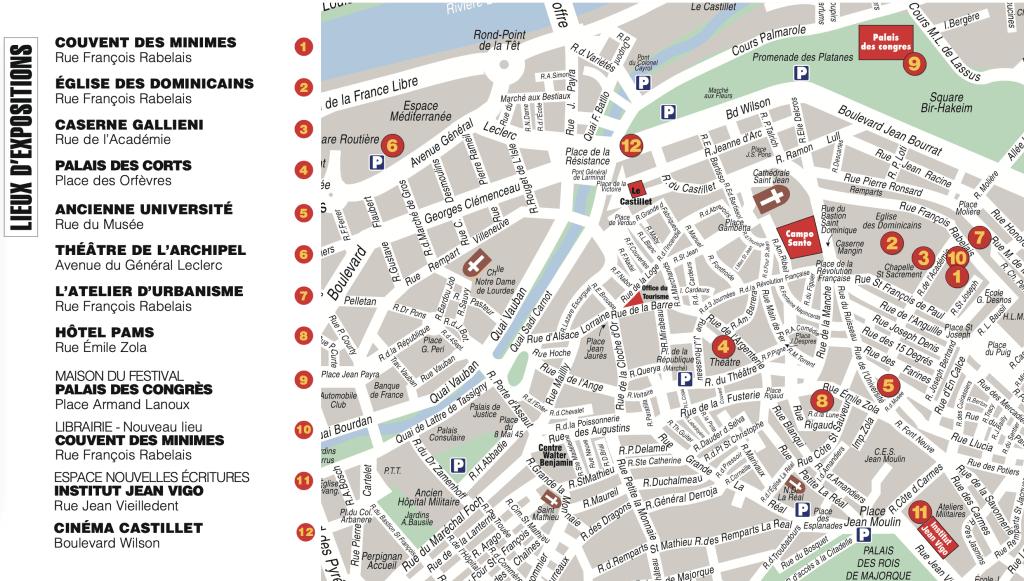 Visa pour l'image 2021 - Carte des lieux d'expositions à Perpignan