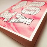 I Love You Valentine Card Recycled Paper Notecard, Hand-Lettering: dictionary definition thru pink watercolor background blank inside Love