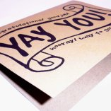 Yay You! Recycled Paper Notecard, hand lettered design on 100% recycled paper, blank inside, congratulations, graduation card