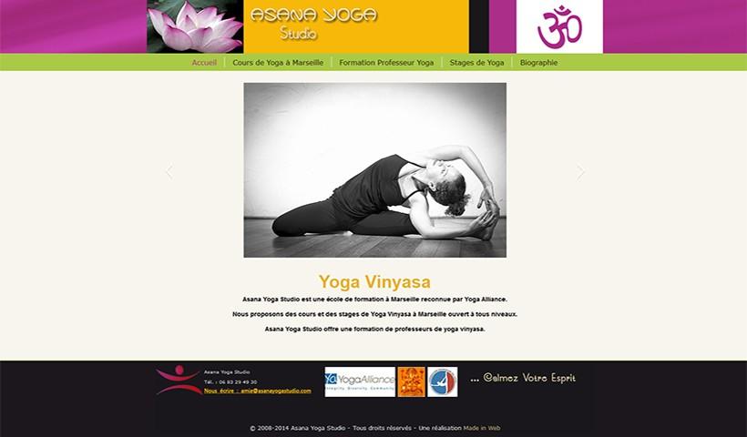 Asana Yoga Studio - Un site réalisé et hébergé par Made in Web