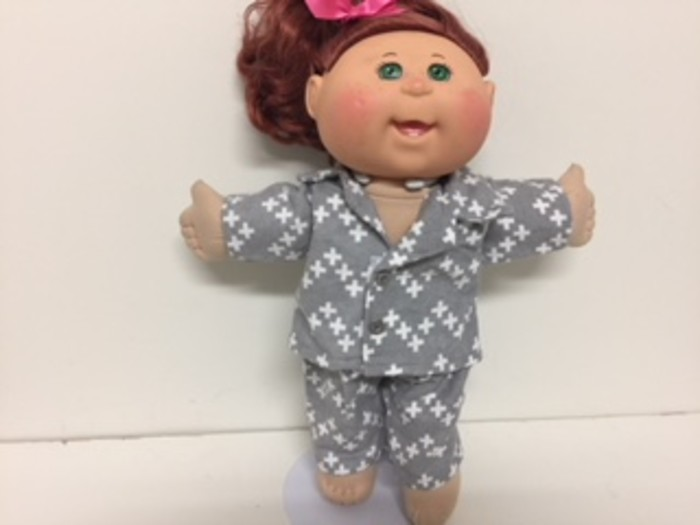 Dolls Pajamas With Matching Dressing Gown To Fit Cabbage