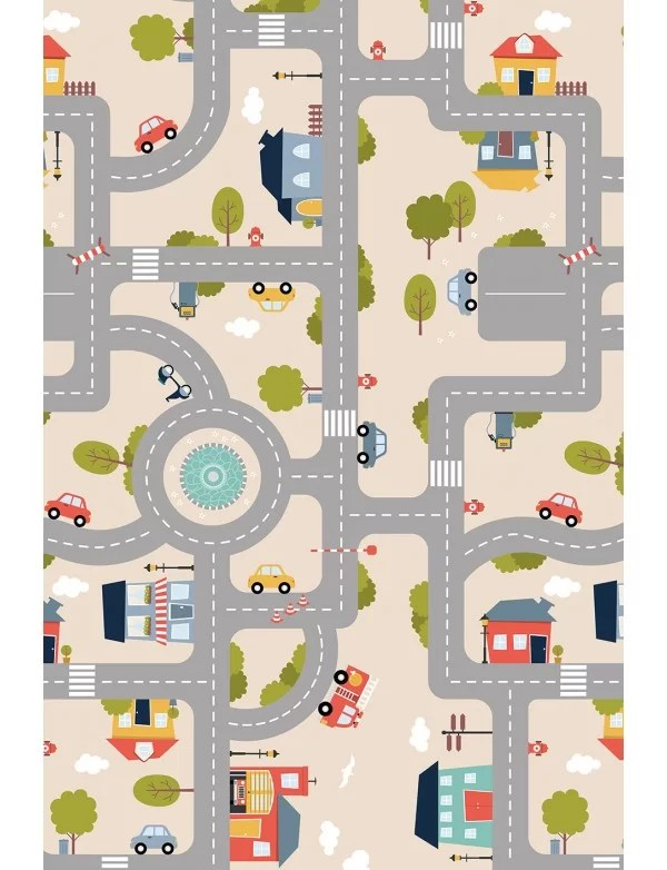 tapis vinyle enfant route de campagne beige