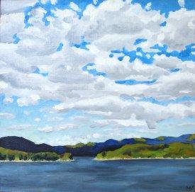 """""""Lake Jocassee"""" Oil on panel, 8""""x8"""". 2011."""