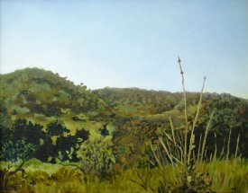 """""""Looks Like a Sky for Shoeing Horses Under"""" Oil on canvas, 11""""x14"""". 2011."""