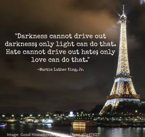 "Quote from Martin Luther King ""Darkness cannot drive out darkness, only light can do that. Hate cannot drive out hatred, only love can do that."""