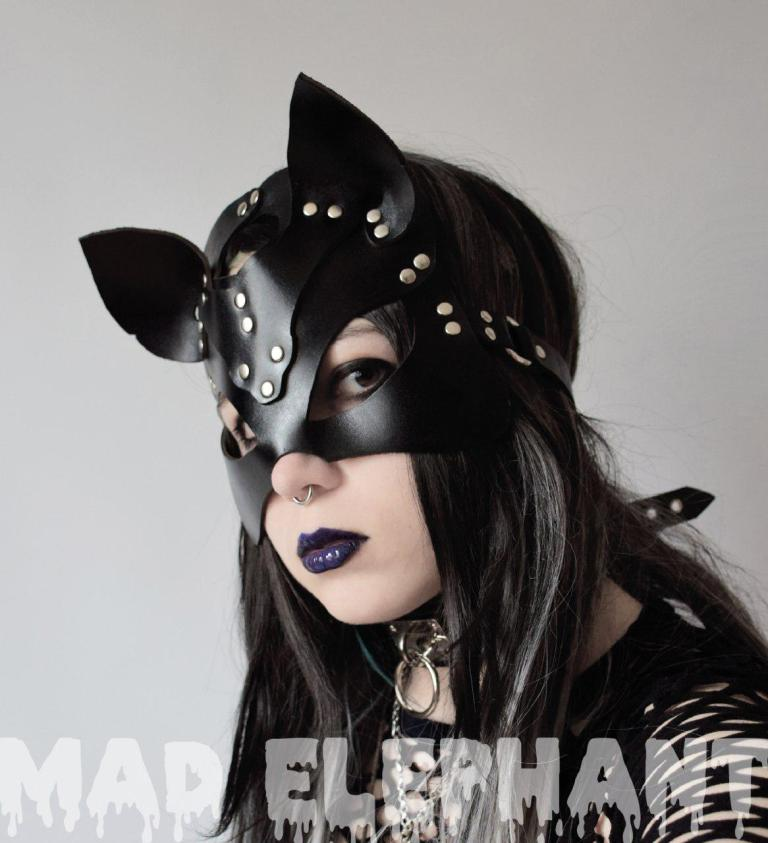 sexy leather cat mask