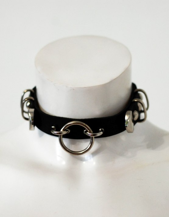 black leather circle choker