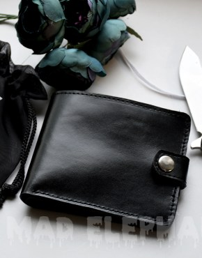 mens bifold black leather wallet