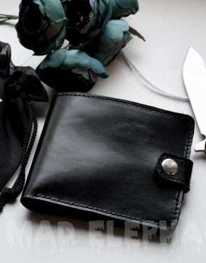 mens bifold black leather wallet