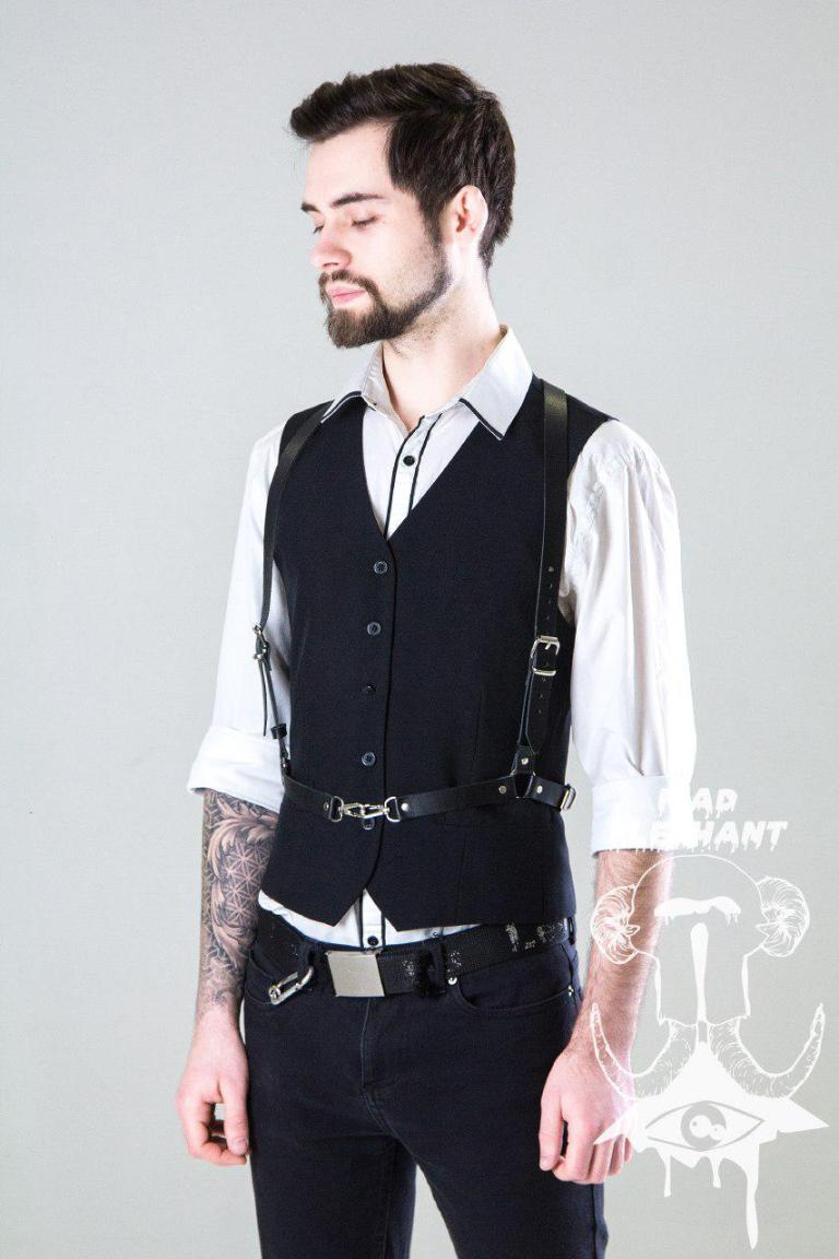 leather suspender harness men