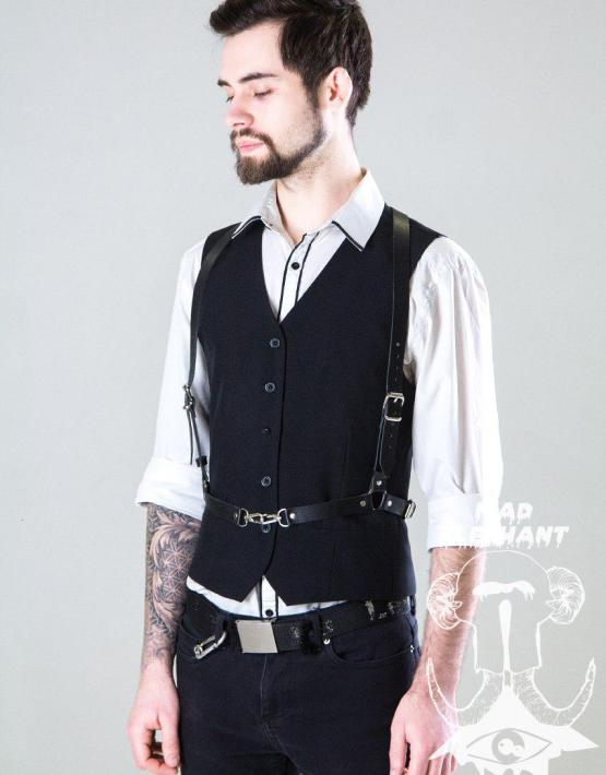 leather suspender harness men