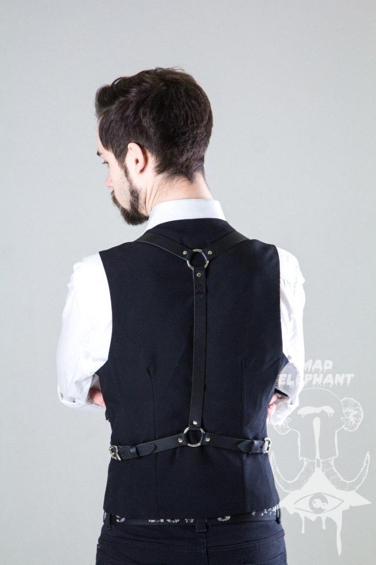 black suspender harness