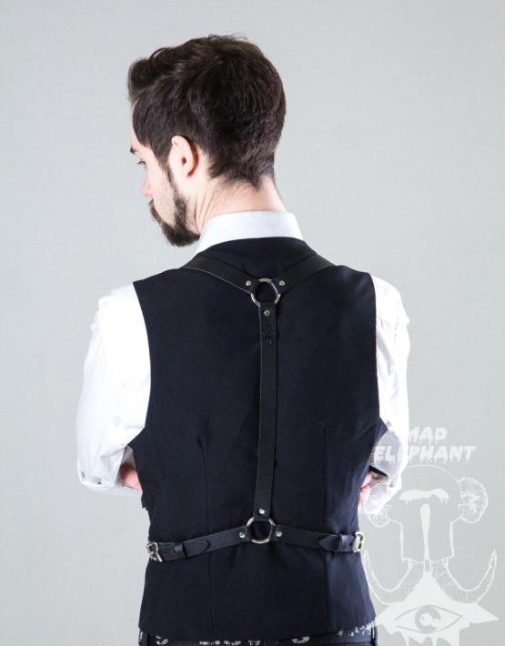 black suspender harness
