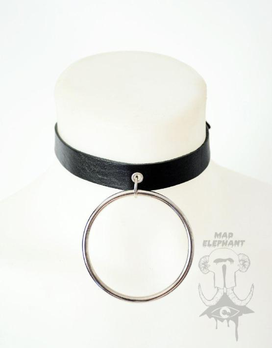 black leather choker with ring
