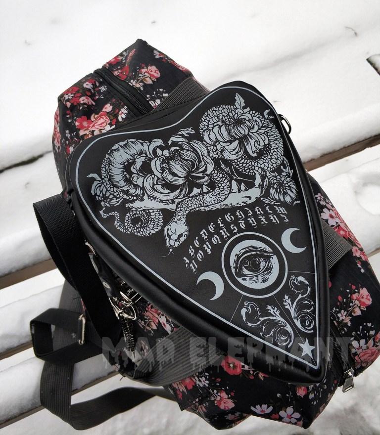 black leather ouija purse
