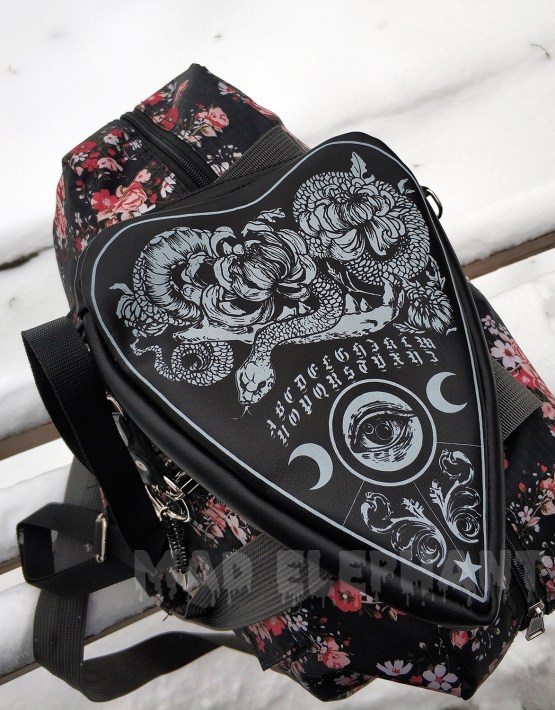 black leather ouija purse